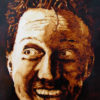"""Andrew Saur created this original """"Andy Self Portrait"""" Coffee Art® painting. It features the artist being excited about being created with coffee."""