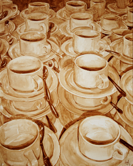 "Angel Sarkela-Saur created this original ""Awaiting Fulfillment"" Coffee Art® painting. It features stacks of empty cups waiting to be filled with coffee."