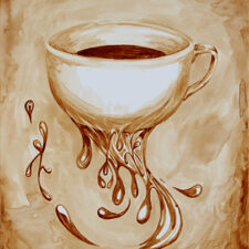 "Angel Sarkela-Saur created this original ""Bottomless Cup of Coffee"" Coffee Art® painting. It features a coffee cup endlessly flowing coffee."