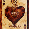 """Angel Sarkela-Saur created this original """"Coffee Ace"""" Coffee Art® painting. It features the Ace of Hearts playing card with a cup of coffee."""
