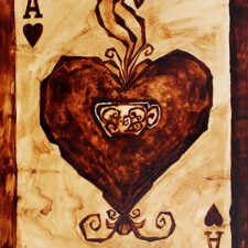 "Angel Sarkela-Saur created this original ""Coffee Ace"" Coffee Art® painting. It features the Ace of Hearts playing card with a cup of coffee."