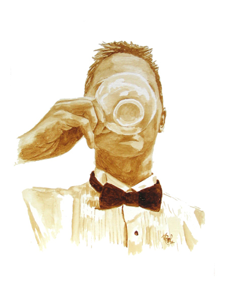 "Angel Sarkela-Saur created this original ""Coffee Connoisseur"" Coffee Art® painting. It features a refined gentleman tasting a cup of coffee."