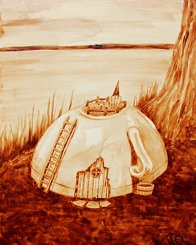 "Angel Sarkela-Saur created this original ""Coffee Gnome Home"" Coffee Art® painting. It features a tiny gnome enjoying his morning coffee on top of his coffee mug home."