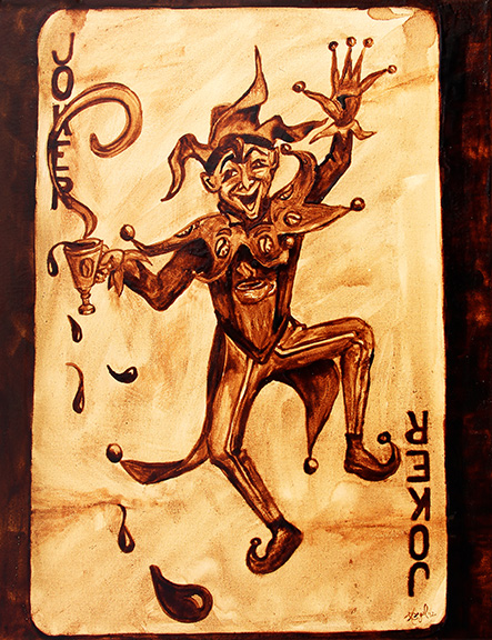 "Angel Sarkela-Saur created this original ""Coffee Joker"" Coffee Art® painting. It features the Joker playing card spilling a cup of coffee all over."