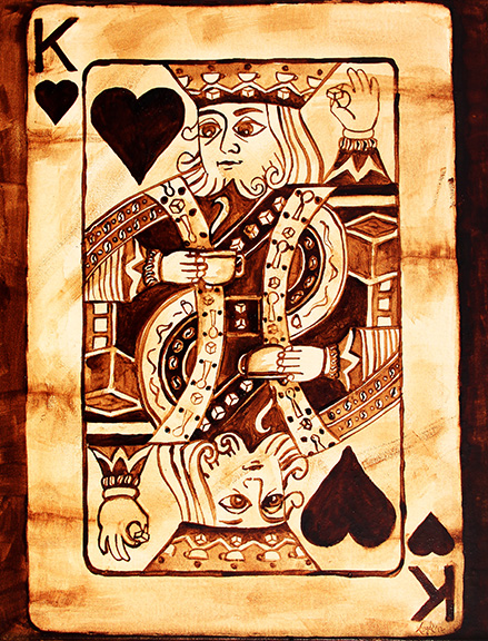 "Angel Sarkela-Saur created this original ""Coffee King"" Coffee Art® painting. It features the King of Hearts playing card holding a cup of coffee and a sugar cube in the other hand."