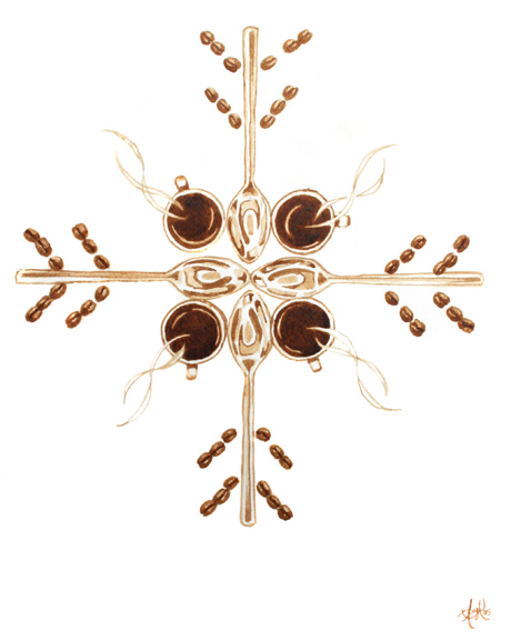 "Angel Sarkela-Saur created this original ""Coffee Snowflake"" Coffee Art® painting. It features coffee related elements forming a snowflake."