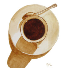 "Angel Sarkela-Saur created this original ""Coffee Spotlight"" Coffee Art® painting. It features a cup of coffee being the center of attention."