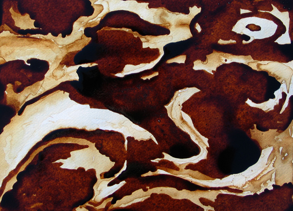 "Andrew Saur created this original ""Coffee and Cream"" Coffee Art® painting. It features cream swirling around, making interesting shapes in the coffee."