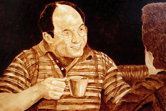 "Andrew Saur and Angel Sarkela-Saur created this original ""Costanza"" Coffee Art® painting. It features George Costanza enjoying a cup of coffee with his pal, Jerry, at the coffee shop."