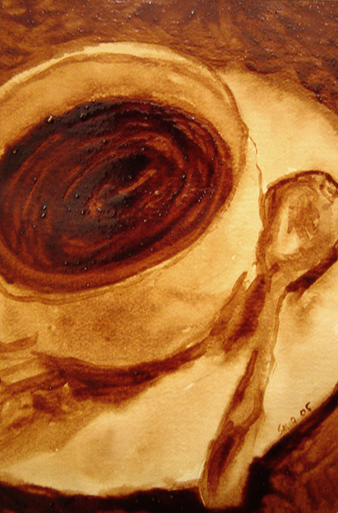 "Andrew Saur created this original ""Cup and Spoon"" Coffee Art® painting. It features and artistic take of a cup of coffee with a spoon on the saucer."
