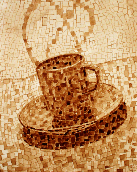 "Andrew Saur created this original ""Dabble"" Coffee Art® painting. It features mosaic images creating a cup of coffee."