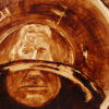 """Angel Sarkela-Saur created this original """"Distortion"""" Coffee Art® painting. It features a person taking a sip of coffee and seeing their distorted reflection in the coffee."""
