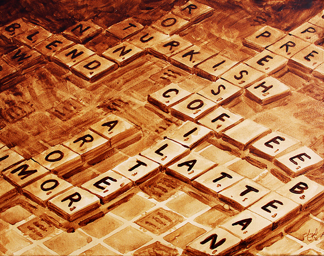 "Angel Sarkela-Saur created this original ""Double Coffee Score"" Coffee Art® painting. It features a popular board game with coffee related words."