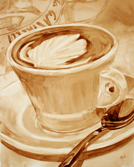 "Angel Sarkela-Saur created this original ""Embellishment"" Coffee Art® painting. It features a latte art swirl in a cup of coffee."
