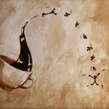 "Angel Sarkela-Saur created this original ""Exhilaration"" Coffee Art® painting. It features an energetic coffee figure leaping out of a cup."