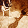 """Andrew Saur created this original """"Gidget Sneaks a Taste"""" Coffee Art® painting. It features his Boston Terrier, Gidget, sneaking a taste of a spilled coffee on the floor."""