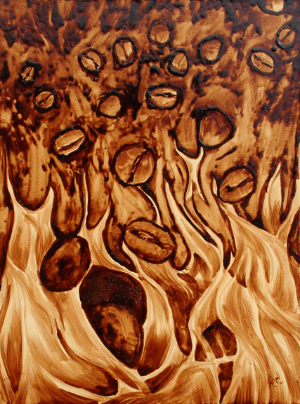 "Angel Sarkela-Saur created this original ""Inferno"" Coffee Art® painting. It features blaze of flames roasting descending coffee beans."