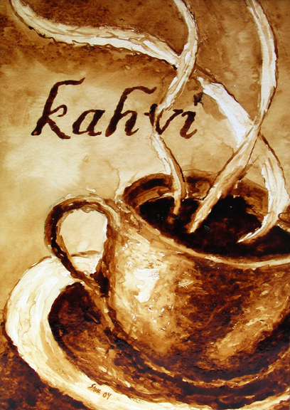"Andrew Saur created this original ""Kahvi"" Coffee Art® painting. It features steam rising from a fresh cup of coffee."