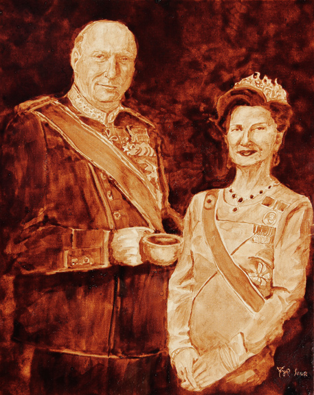 "Andrew Saur and Angel Sarkela-Saur created this original ""King Harald V & Queen Sonja of Norway"" Coffee Art® painting. It features the Norwegian royal couple holding a cup of coffee."