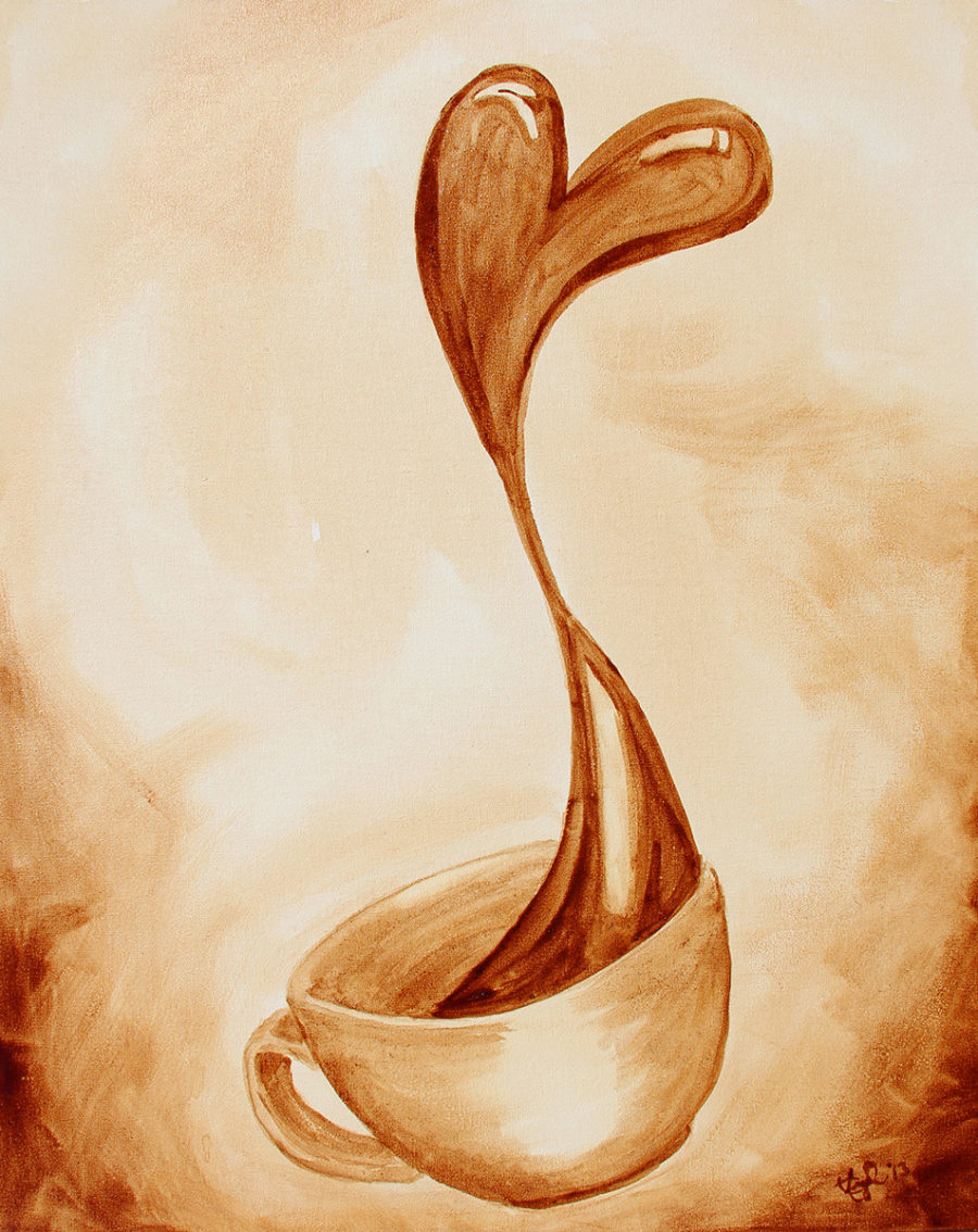 """Love of Coffee"" featuring coffee spilling out of a cup and forms into a loving heart."