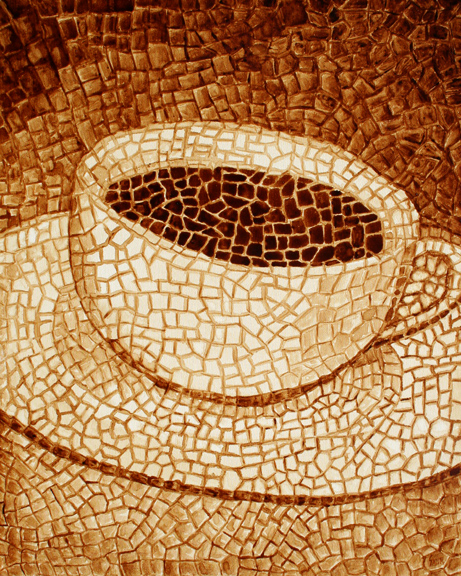 "Andrew Saur created this original ""Meticulous"" Coffee Art® painting. It features a mosaic style painting forming a cup of coffee."