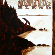 "Andrew Saur & Angel Sarkela-Saur created this original ""Morning Portage Blend"" Coffee Art® painting. It features a person portaging a canoe at daybreak."