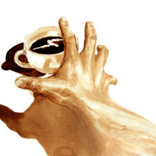 "Angel Sarkela-Saur created this original ""Must Have Coffee!"" Coffee Art® painting. It features a hand, desperately reaching for a cup of coffee."