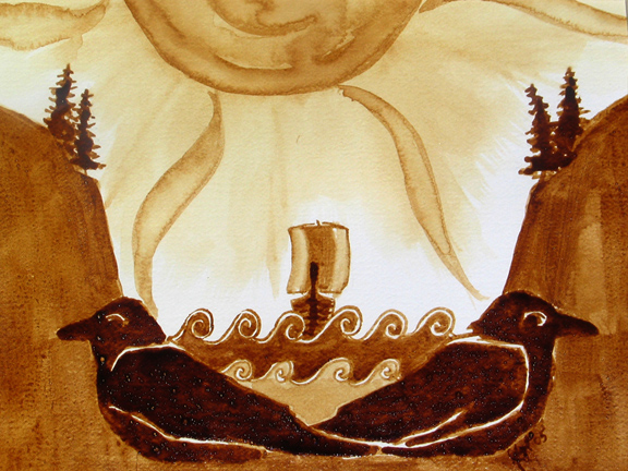 """Angel Sarkela-Saur created this original """"Nordic Guide"""" Coffee Art® painting. It features ravens being an important part of the Viking's lives."""