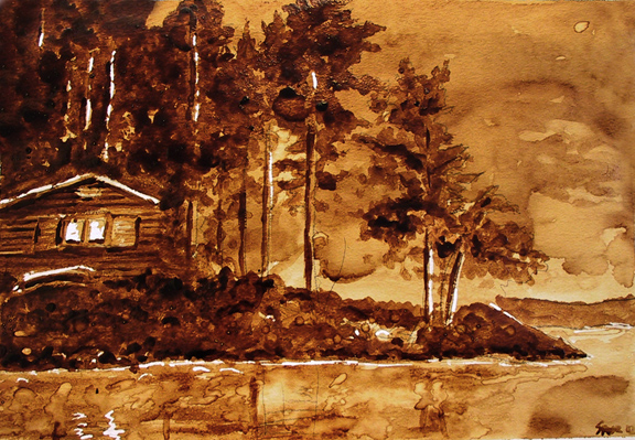 "Andrew Saur created this original ""North Shore Retreat"" Coffee Art® painting. It features a cabin nestled in among the trees near a serene lake."