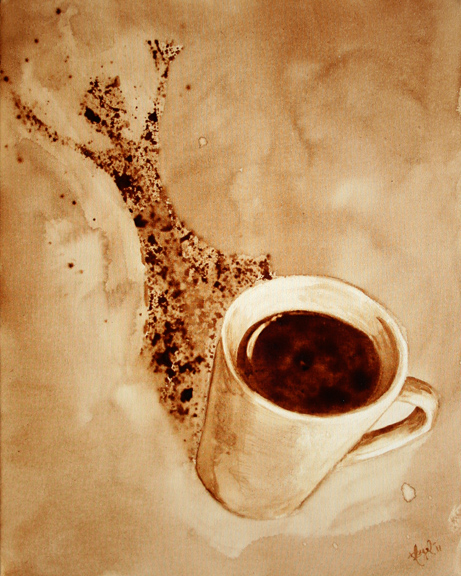 "Angel Sarkela-Saur created this original ""Pow!"" Coffee Art® painting. It features an energized figure leaping out from the coffee mug's shadow."