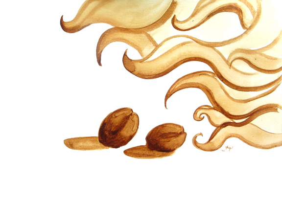 "Angel Sarkela-Saur created this original ""Roasting"" Coffee Art® painting. It features a pair of coffee beans being roasted under fanning flames."