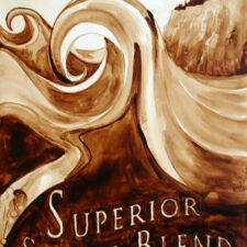 "Andrew Saur & Angel Sarkela-Saur created this original ""Superior Surge Blend"" Coffee Art® painting. It features a wave crashing on Lake Superior."