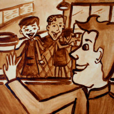 """Angel Sarkela-Saur created this original """"Thanks a latte"""" Coffee Art® painting. It features a happy customer thanking his barista friends for his delicious caffeinated beverage."""