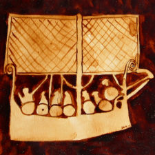 """Andrew Saur created this original """"Viking Ship Pictogram"""" Coffee Art® painting. It features a representation of an image of a Viking ship from long ago."""