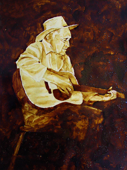 "Angel Sarkela-Saur created this original ""Vintage Val"" Coffee Art® painting. It features an old cowboy strumming an old tune on his guitar."