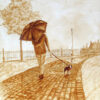 """Andrew Saur created this original """"A Walk in the Rain"""" Coffee Art® painting. It features a woman walking her puppy along a cobblestone street in the rain."""