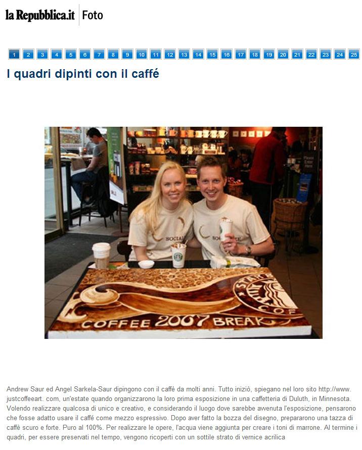 Coffee Art featured in La Repubblica in Italy