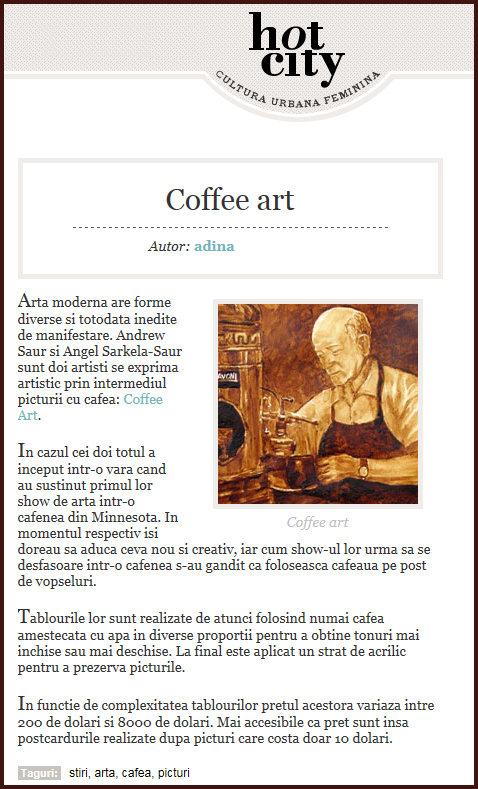 Coffee Art featured in Hot City