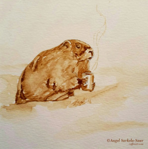Coffee Art - Groundhog Day 2016