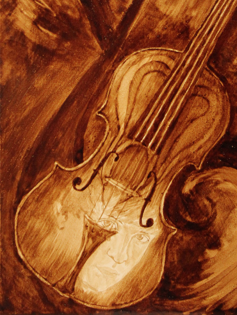 A close-up view of the completed custom violinist-dentist Coffee Art painting.