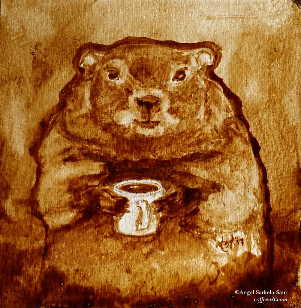 Coffee Art - Groundhog Day 2017